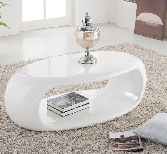 Modern Oval White High Gloss Glossy Lacquer Coffee Table: Straas Curved High Gloss Coffee Table In White