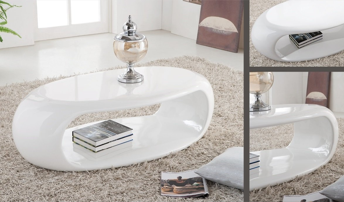 Straas Curved High Gloss Coffee Table In White Buy High