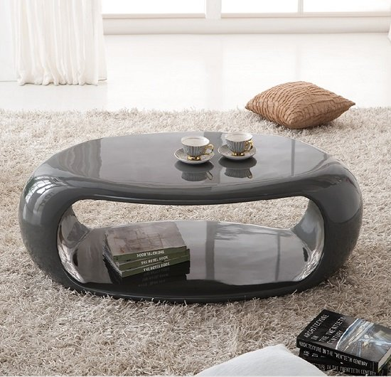 Straas Curved High Gloss Coffee Table In Dark Grey 21013