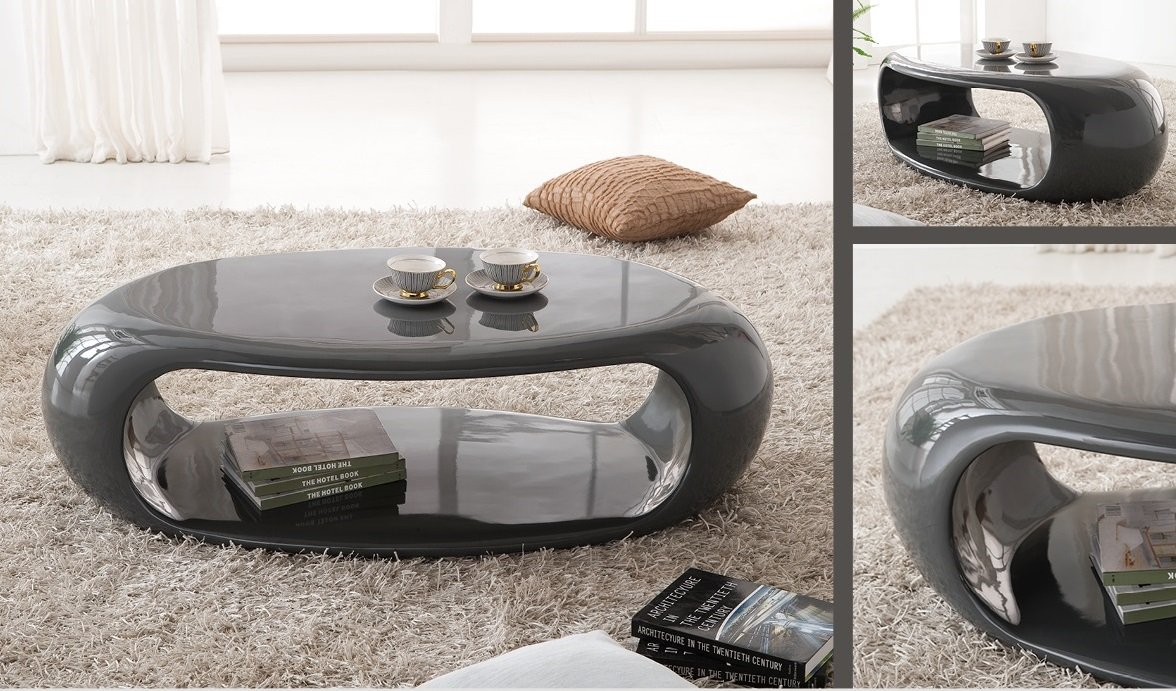Straas Curved High Gloss Coffee Table In Dark Grey 21013 - Grey High Gloss Coffee Table CoffeTable
