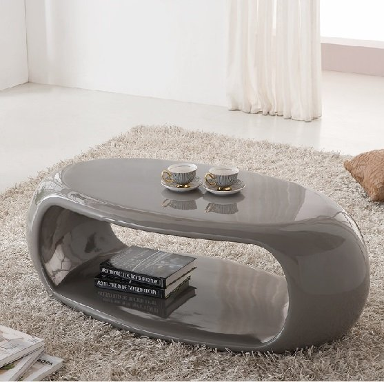 Straas Curved High Gloss Coffee Table In Grey