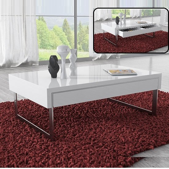 Buy Chrome Coffee Table Legs: Casa Coffee Table In White Gloss With Chrome Legs And