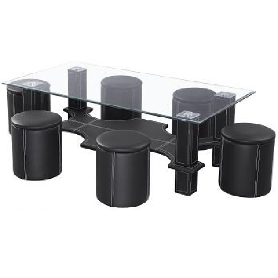 Aquatic Coffee Table In Clear Glass Top With 6 Black Poufs