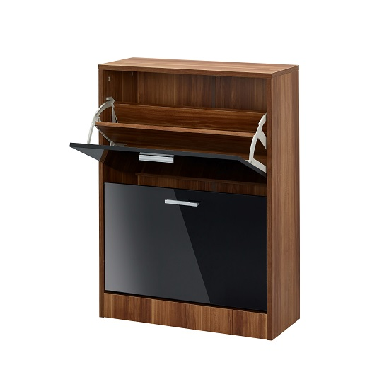 Frances Shoe Cabinet In Walnut With Gloss Black 2 Doors_2
