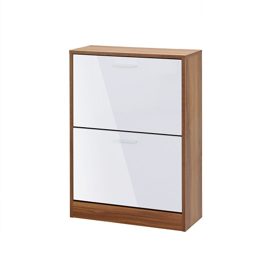 Frances Shoe Cabinet In Walnut And Gloss White With 2 Doors