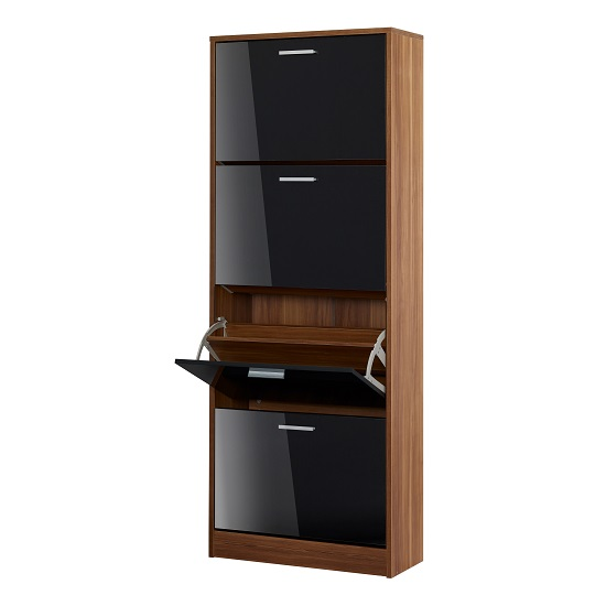 Frances Shoe Cabinet In Walnut With 4 Doors In Gloss Black_2
