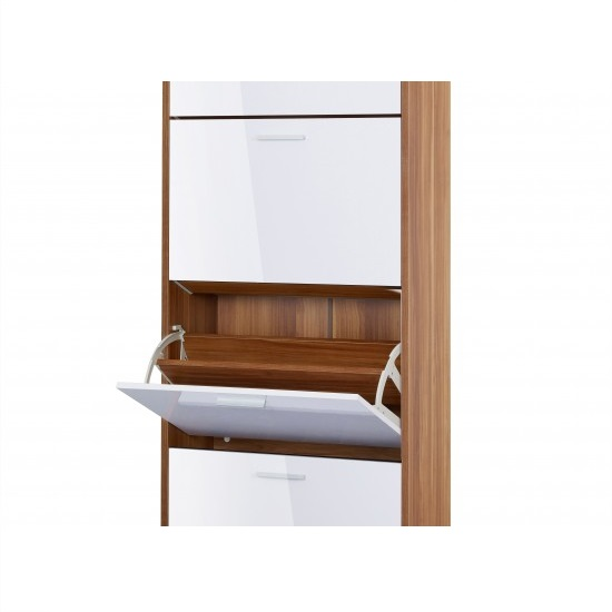 Frances Tall Shoe Cabinet In Walnut Gloss White With 4 Doors_2