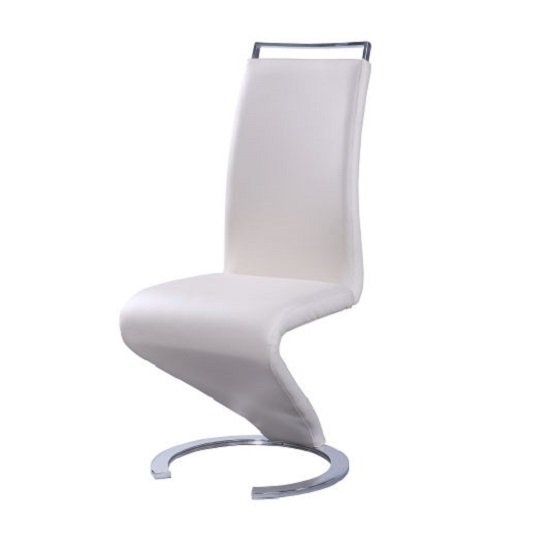 Summer z shape dining chair in cream pu leather with chrome for Z shaped dining room chairs