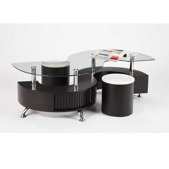 Elegant Curved Shape Wenge Coffee Table With Stools