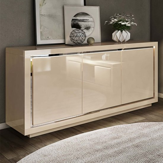 Salento Modern Sideboard In Cream High Gloss With LED