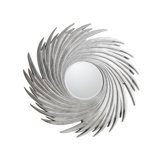 Ealham Whirlwind Wall Mirror In High Gloss Silver_2