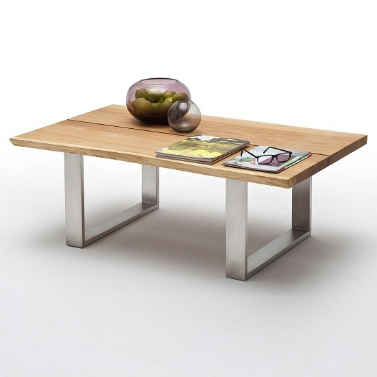 Waton Wooden Coffee Table In Knotty Oak And Stainless Steel Base