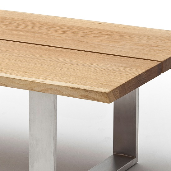 Waton Wooden Coffee Table In Knotty Oak And Stainless Steel Base_2
