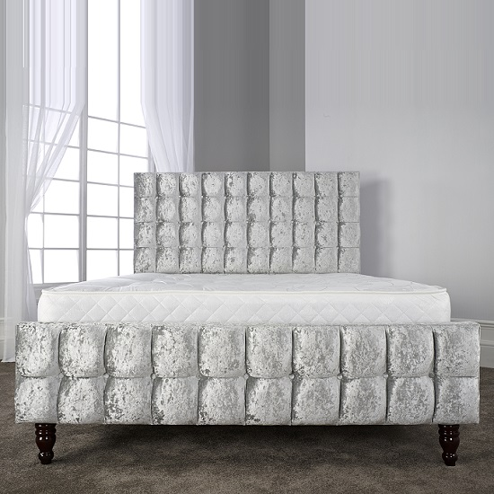Breslin Stylish Bed In Glitz Ice With Baroque Wooden Feet_3