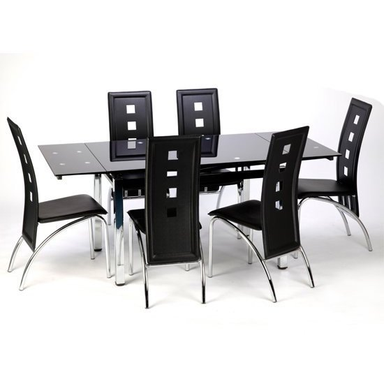 Paris Extending Black Glass Dining Table With Chrome Legs_2