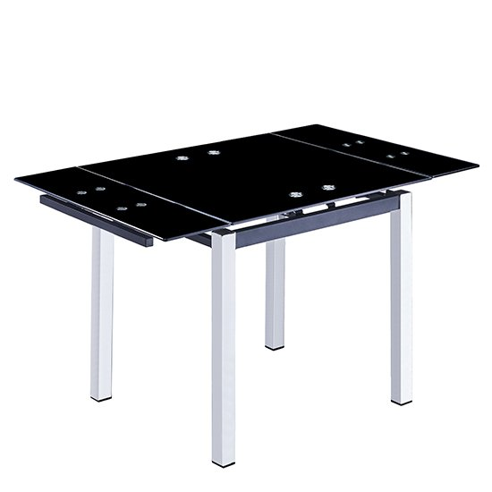 Paris Extending Black Glass Dining Table With Chrome Legs_1