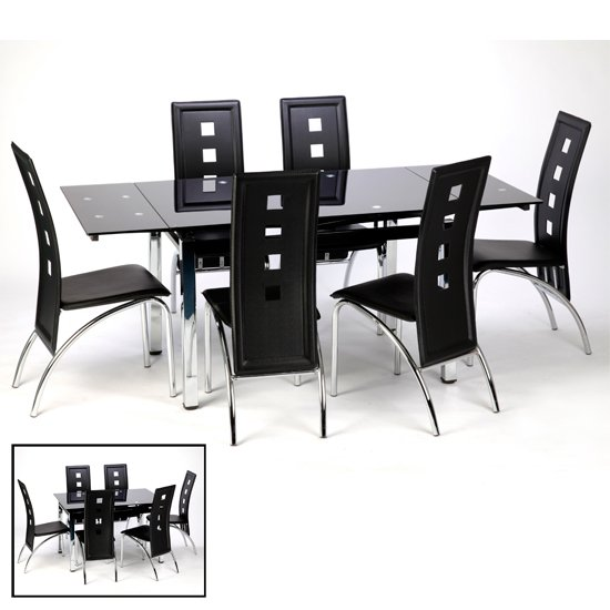Sarah Extending Black Dining Table Set With 6 Bellini Chairs
