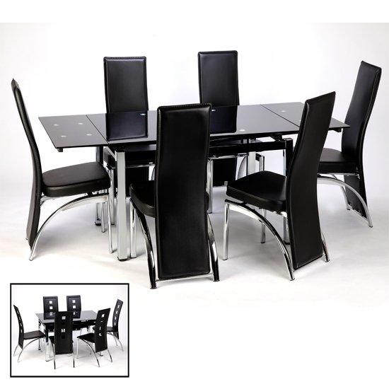 Sarah Extending Black Dining Table 6 Black Romeo Chairs