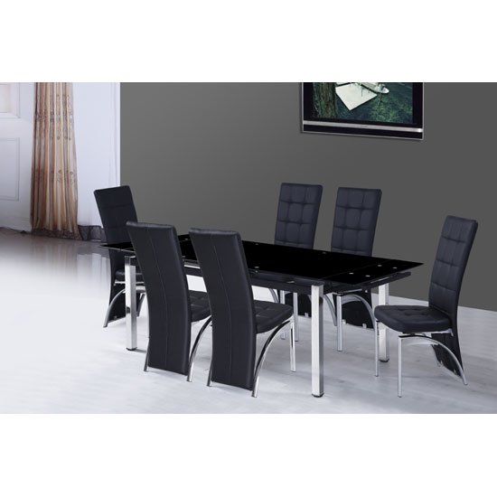 Sarah Extending Glass Dining Table With 6 Ravenna Chairs