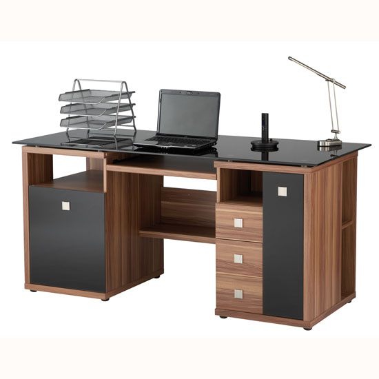 Dallas Computer Work Station In Walnut With Black Glass Top