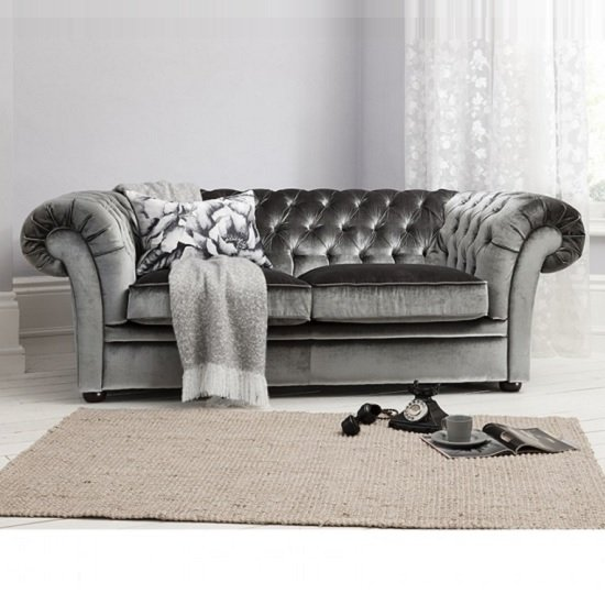 Farina 3 Seater Sofa In Dark Grey Velvet Fabric With Wooden Legs