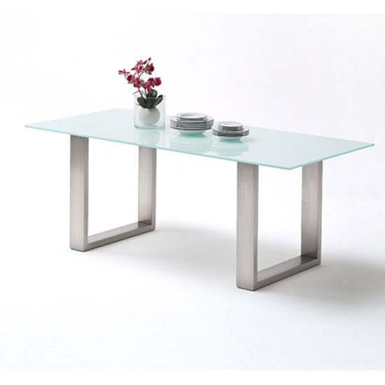 Sayona Glass Dining Table In Pure White And Stainless Steel Legs