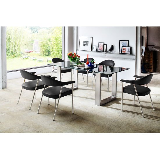 Sayona Glass Dining Table In Grey With 6 Aurelia Dining Chairs