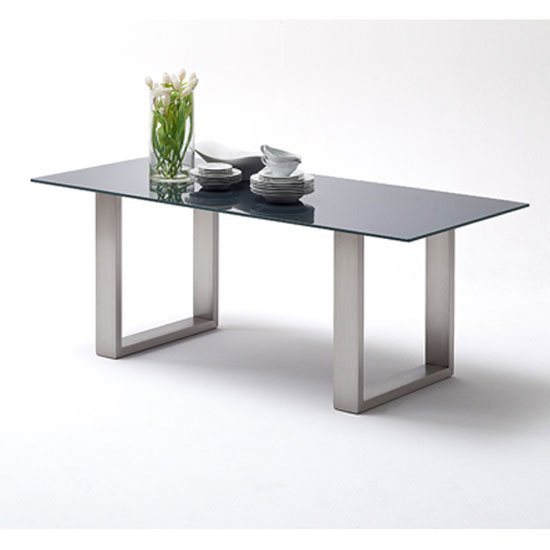 Sayona Glass Dining Table Wide In Grey With Steel Legs