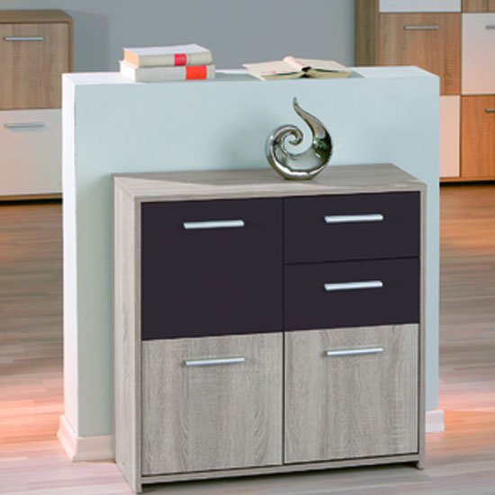 Scarpi Sideboard In Sonoma Oak Wenge With 3 Doors And 2 Drawers