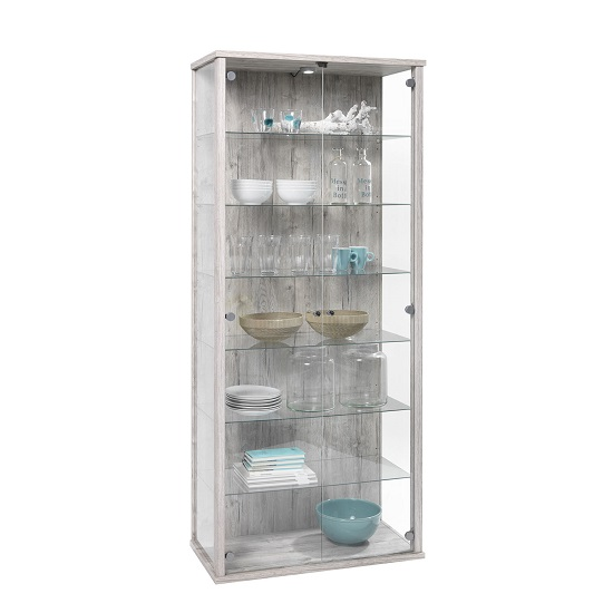 Napoli Tall Glass Display Stand In Sand Oak With LED Lights