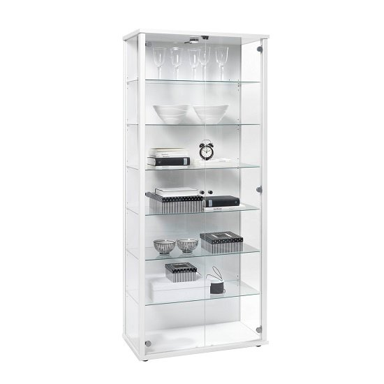 Read more about Optic tall glass display stand in white high gloss with led