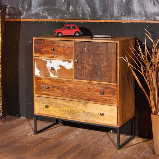 Segall Solid Mango Wood Finish 4 Drawer Chest With 1 Drawer
