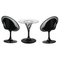 Sendero Black & Clear Revolving Table with 2 Chairs