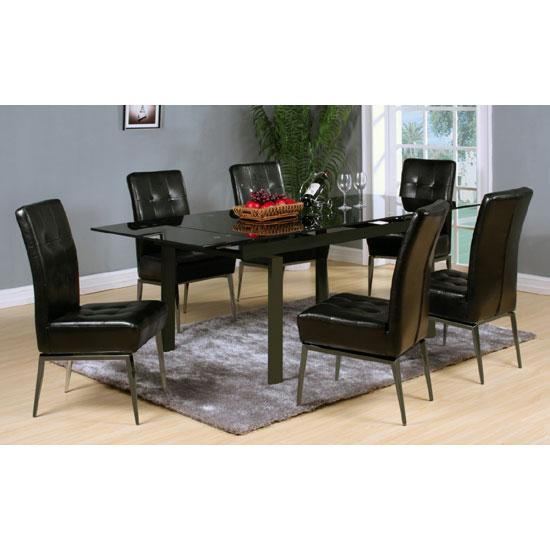 Sherbourne black glass top extending dining table and 6 - Black glass top dining table ...