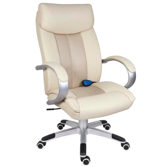 Bicester Office Chair In Cream PU Leather With Massage Function