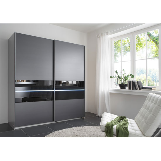 Shine Sliding Wardrobe In Anthracite With 2 Door And Light