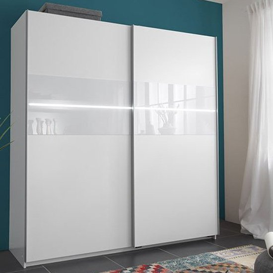 View Shine sliding wardrobe in alpine white with 2 door and light