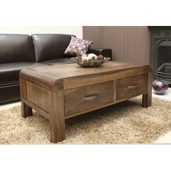 Shiva Walnut Four Drawer Coffee Table