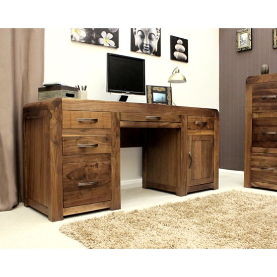 Shiva Walnut Twin Pedestal Computer Desk