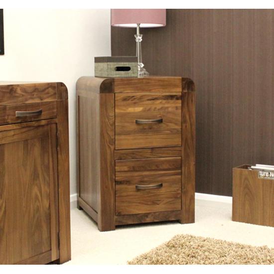 Shiva Walnut Two Drawer Filing Cabinet