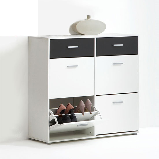 Bozen2 Shoe Cabinet In White and Anthracite With 4 Doors