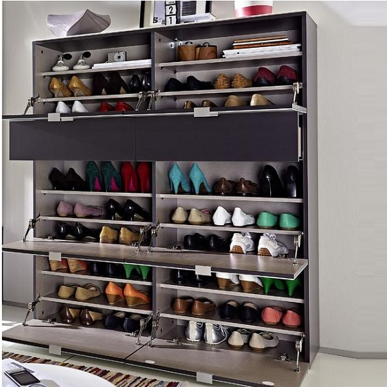 Alameda Shoe Cabinet In Anthracite And White Glass Front_3