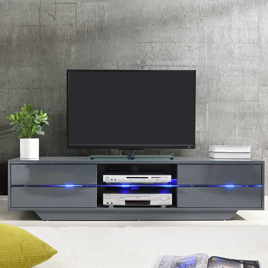 Sienna TV Stand In Grey High Gloss With Multi LED Lighting_2