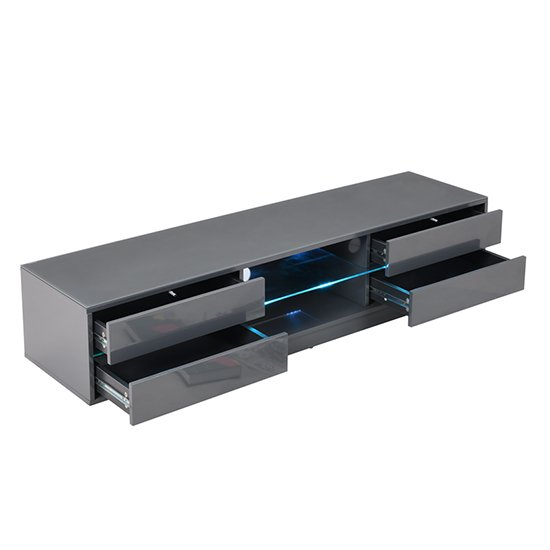 Sienna TV Stand In Grey High Gloss With Multi LED Lighting_4