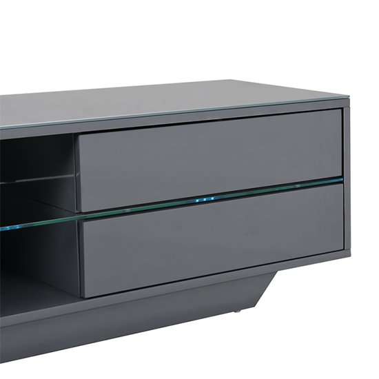 Sienna TV Stand In Grey High Gloss With Multi LED Lighting_6