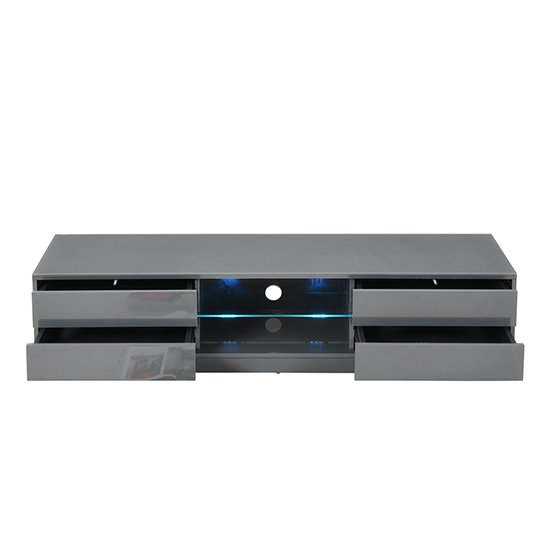 Sienna TV Stand In Grey High Gloss With Multi LED Lighting_7