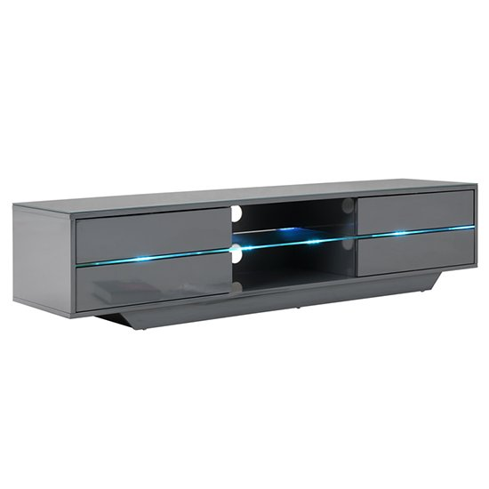 Sienna TV Stand In Grey High Gloss With Multi LED Lighting_10
