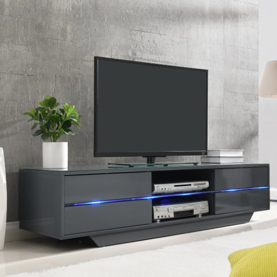 Sienna TV Stand In Grey High Gloss With Multi LED Lighting_1
