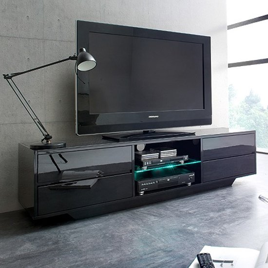 Sienna TV Stand In Black High Gloss With Multi LED Lighting_1