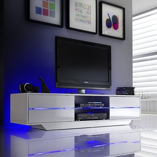 Sienna TV Stand In White High Gloss With Multi LED Lighting_1